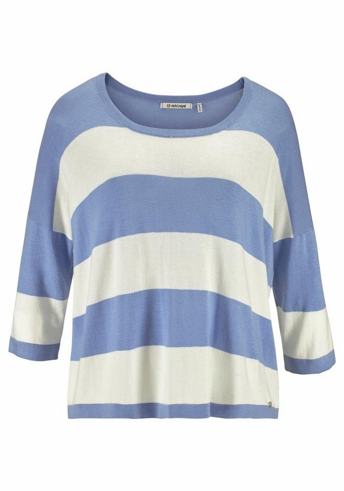 Rich & Royal 3/4 Arm-Pullover in trendy Oversized-Look in sky-blue