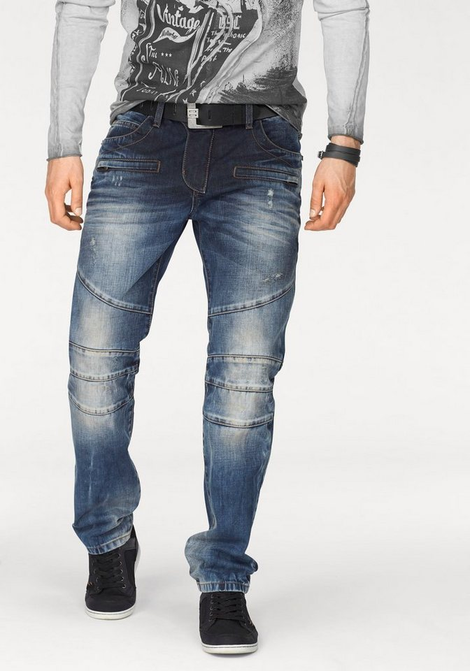 Cipo & Baxx Loose-fit-Jeans »CD252« mit Teilungsnähten in blue-used