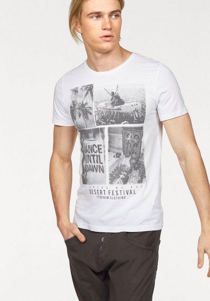 Tom Tailor Denim T-Shirt mit modischem Festival-Print in weiß