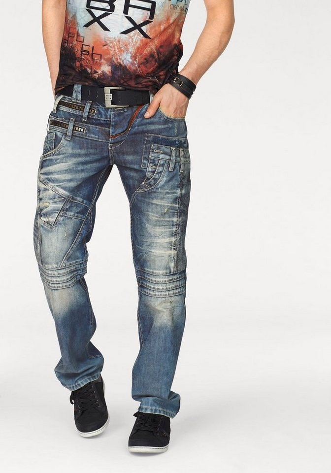 Cipo & Baxx Loose-fit-Jeans mit vielen Details in blue-used