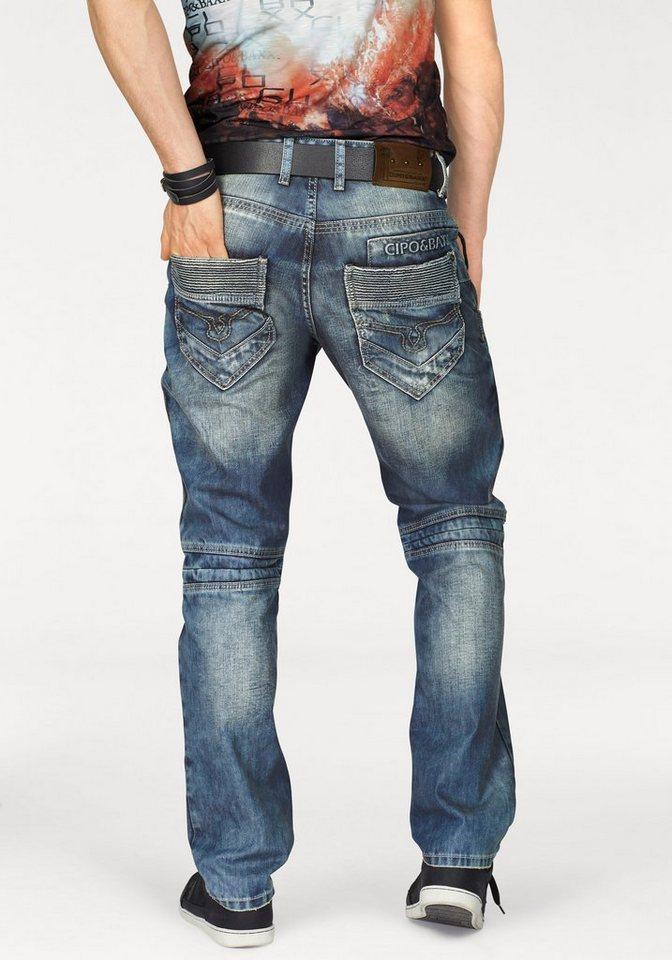 Cipo & Baxx 5-Pocket-Jeans mit vielen Details in blue-used