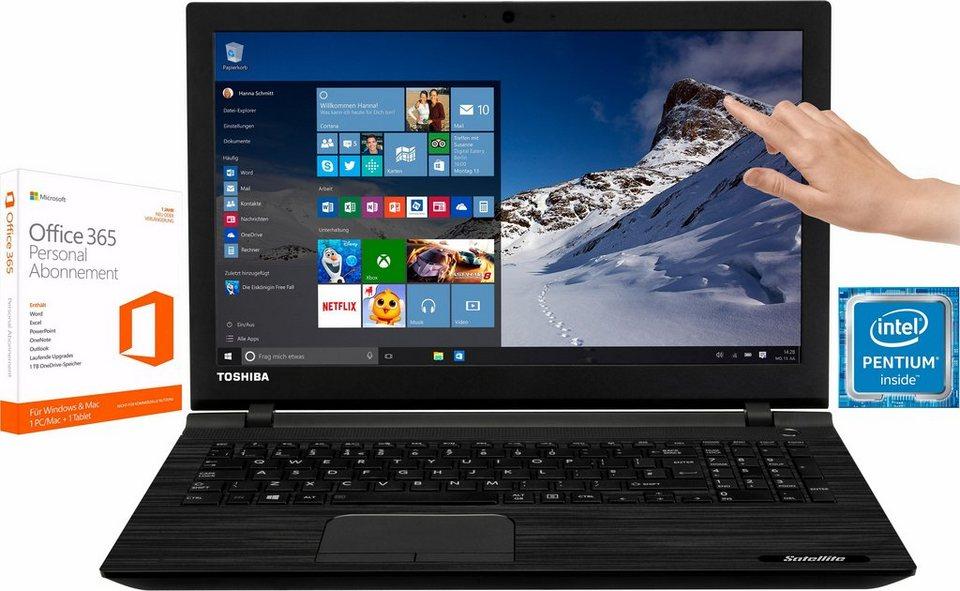 """Toshiba Satellite C55t-C Notebook + 1 Jahr """"egal was passiert Garantie""""* + McAfee Livesafe* in schwarz"""