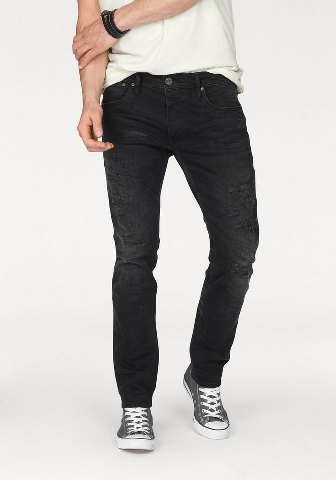 Jack & Jones 5-Pocket-Jeans »Glenn« mit Destroyed-Effekten in black-denim
