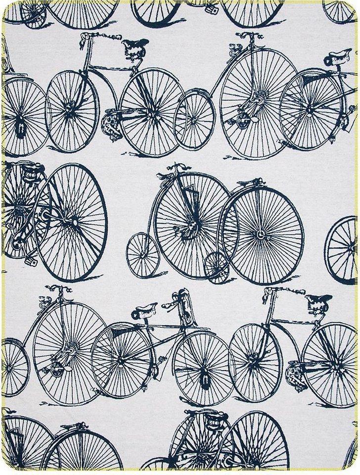 Wohndecke, pad, »Bicycle«, mit Fahrrädern in grau-marine