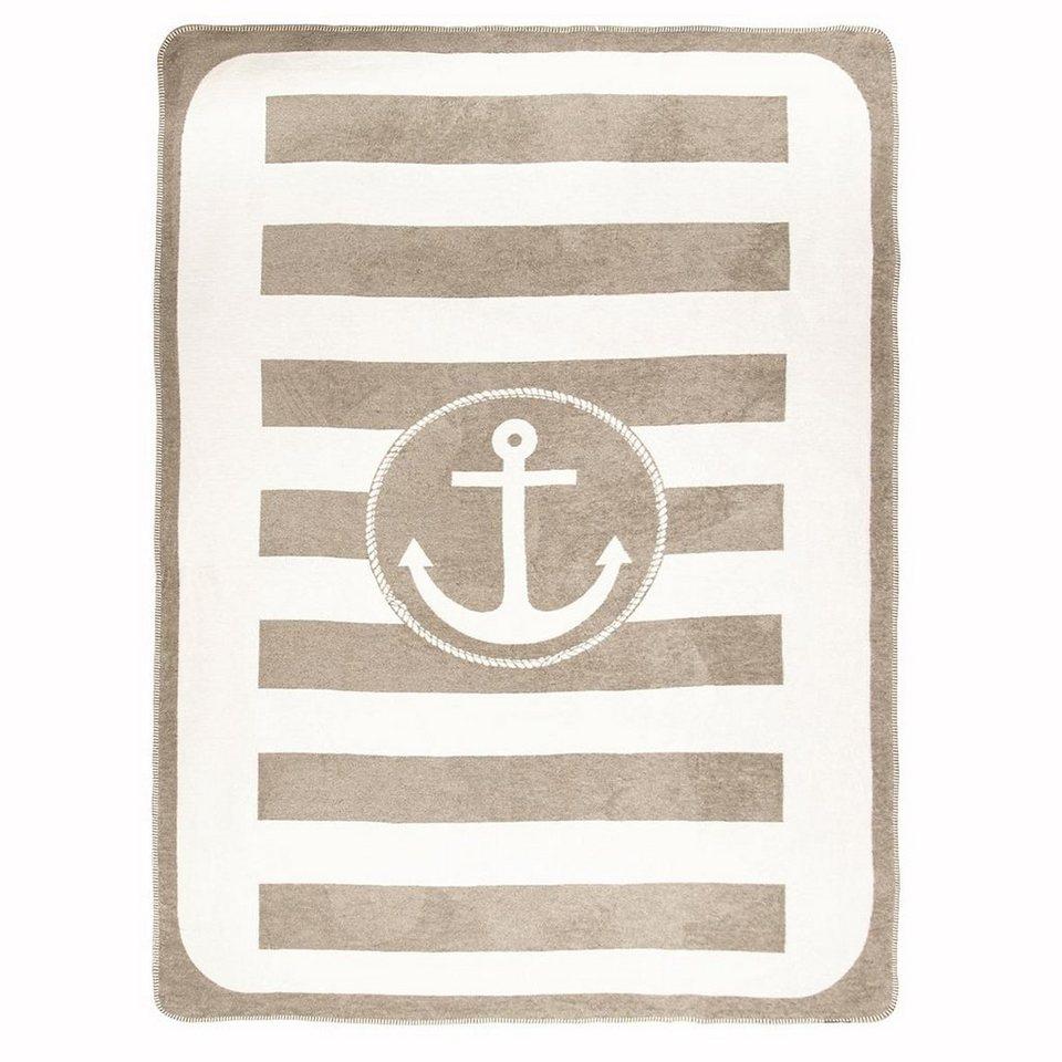 Wohndecke, pad, »Anchor«, mit Anker Motiv in taupe