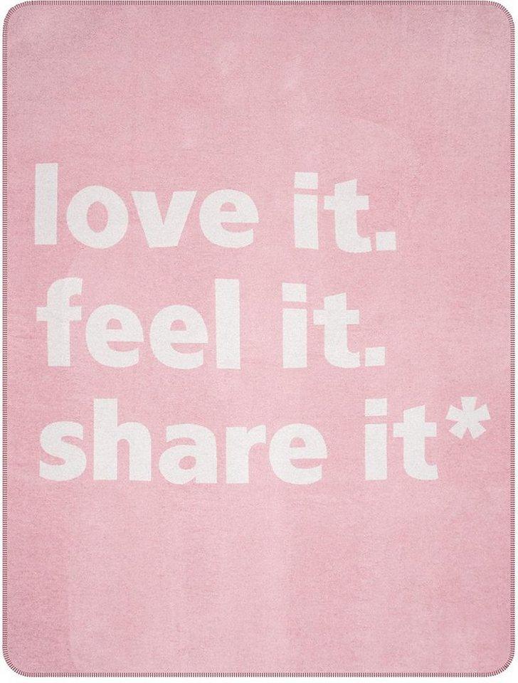 Wohndecke, pad, »Sharity«, mit Schriftzug in rosa