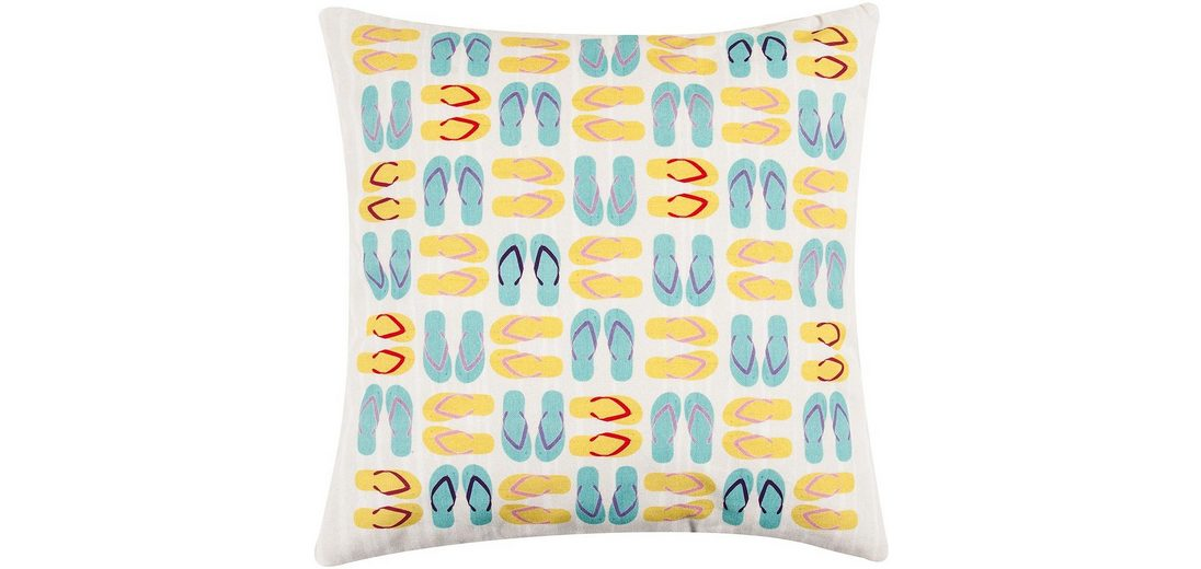 Kissenbezug, pad, »Flip Flop«, mit bunten Schuh-Motiven