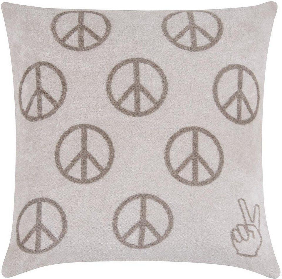 Kissenbezug, pad, »Peace«, mit Friedenszeichen in beige