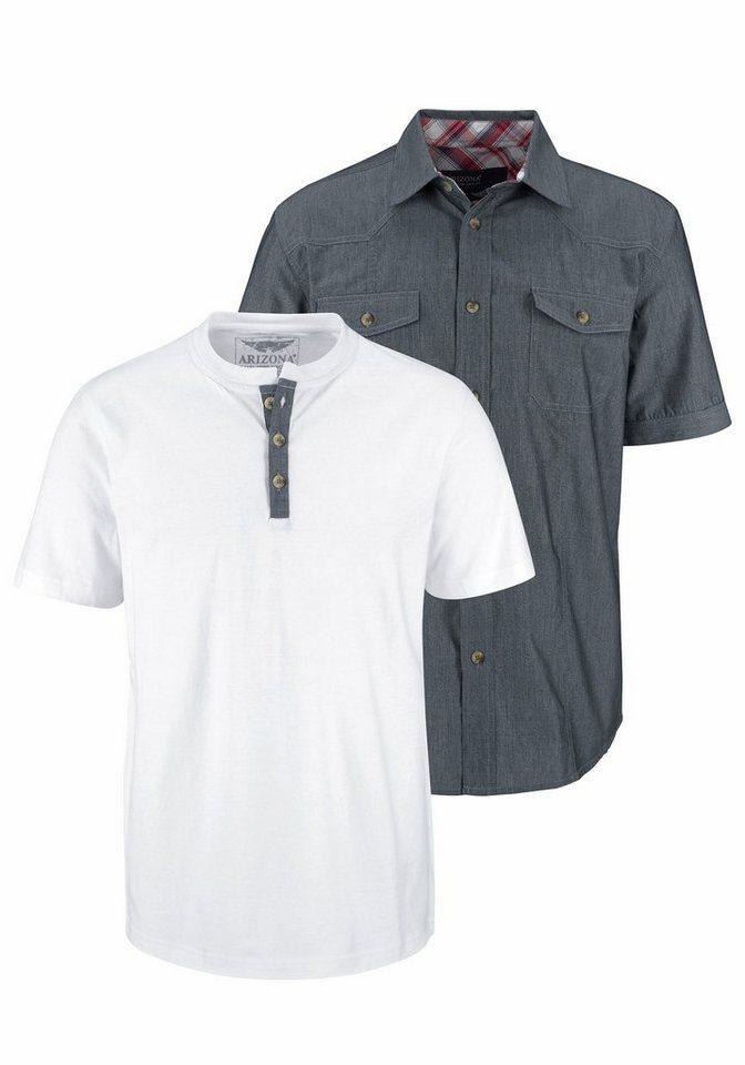 Arizona Kurzarmhemd (Set, mit T-Shirt) in graublau-weiß