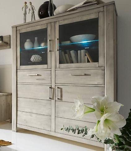 Premium collection by Home affaire Vitrinenschrank »Lucca«, Höhe 158 cm in tundra
