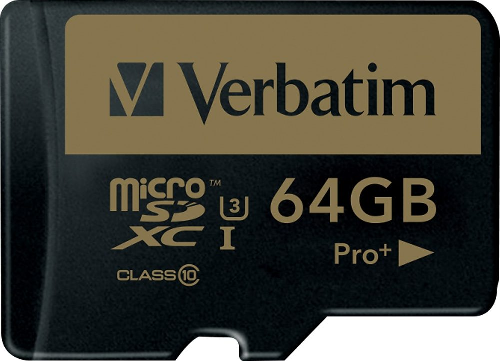 Verbatim microSDXC-Card 64GB, PRO+, Class 10, U3, UHS-I