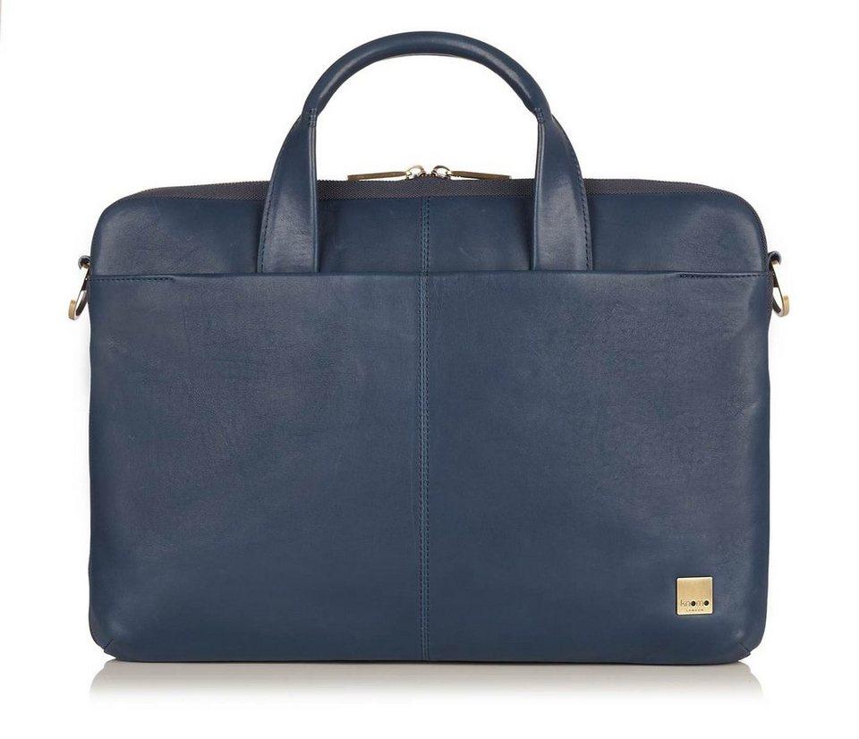 Knomo Aktentasche aus Leder für Notebooks 15,4 Zoll »Henderson« in blau