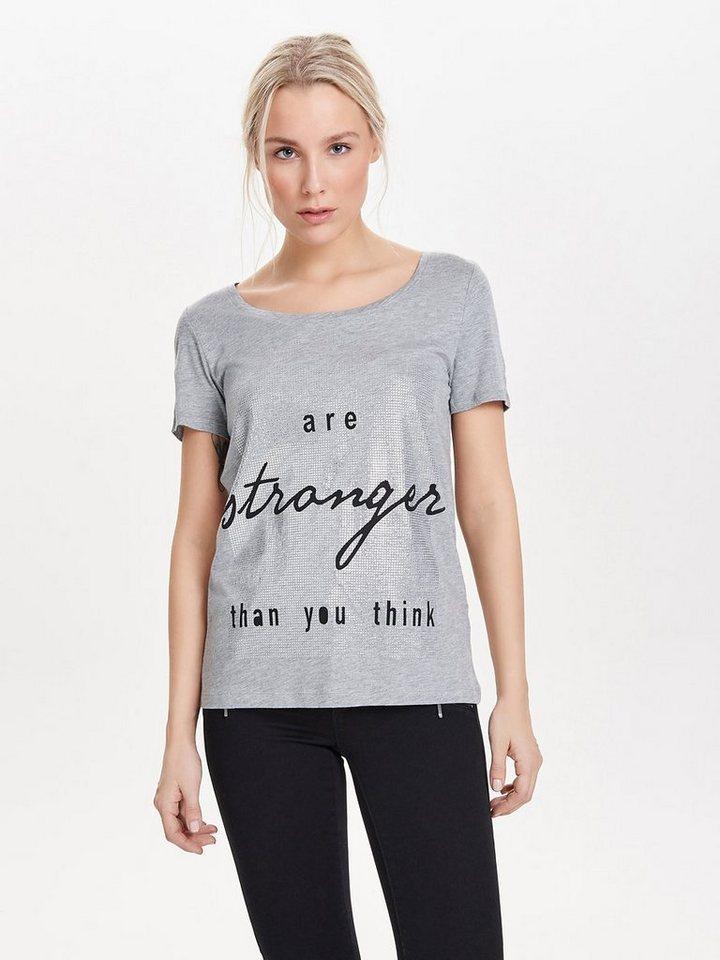 Only Bedrucktes T-Shirt in Light Grey Melange