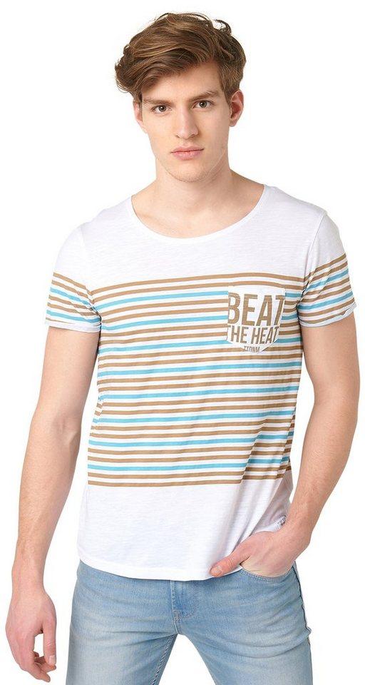 TOM TAILOR DENIM T-Shirt »T-Shirt mit Streifen-Print« in honey camel beige