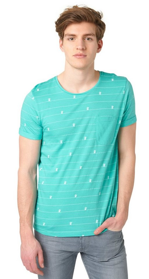 TOM TAILOR DENIM T-Shirt »allover printed pineapple tee« in waterfall green