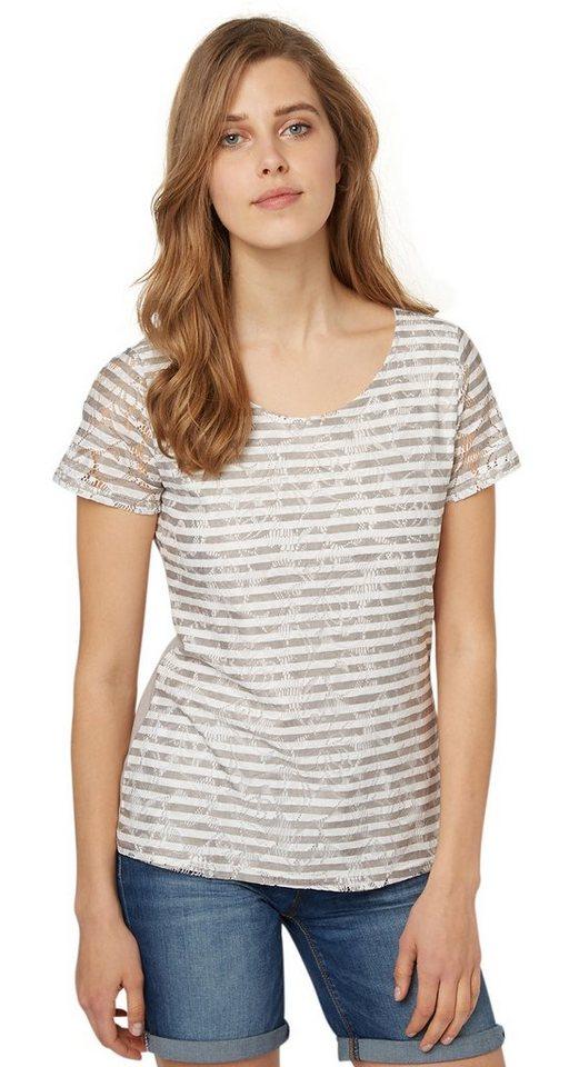 TOM TAILOR T-Shirt »Shirt mit Spitze und Streifen-Print« in light frost grey