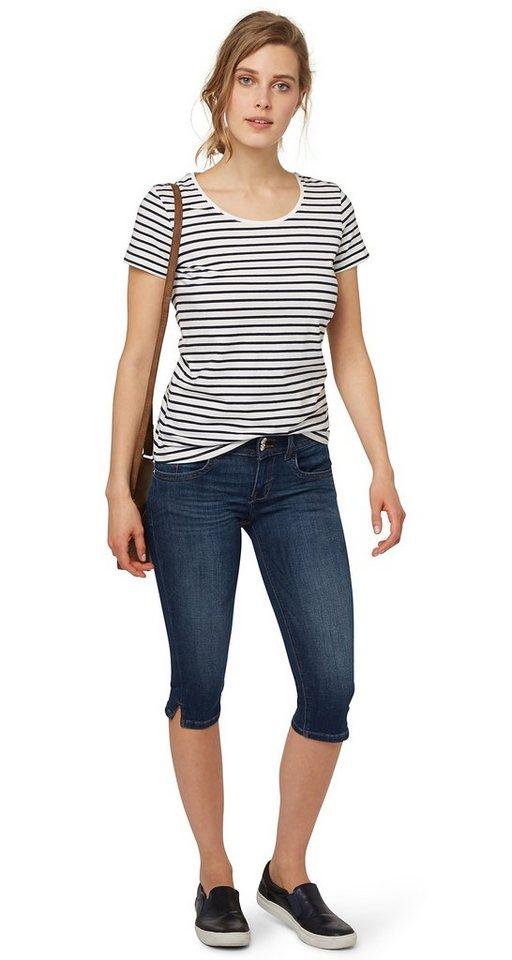TOM TAILOR Jeans »Capri-Jeans im Used-Look« in dark stone wash deni