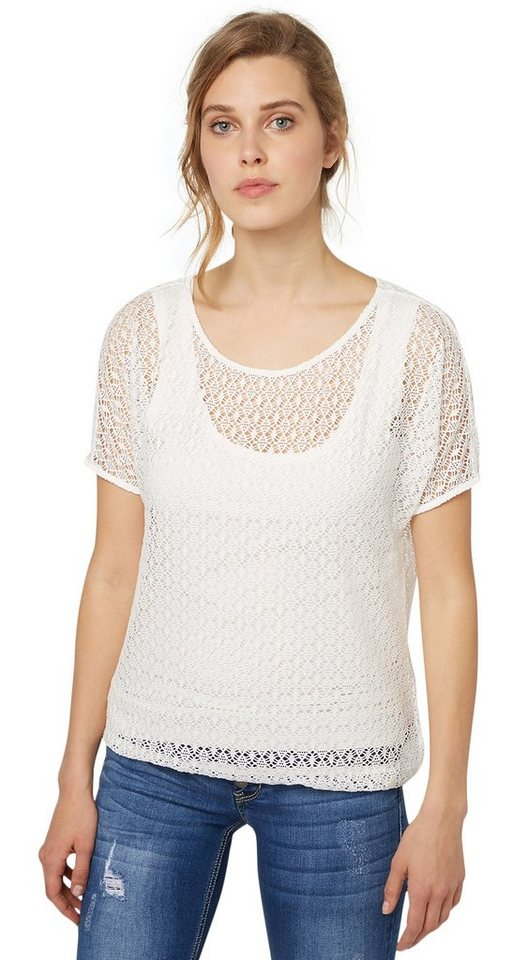 TOM TAILOR T-Shirt »charming lace shirt« in whisper white