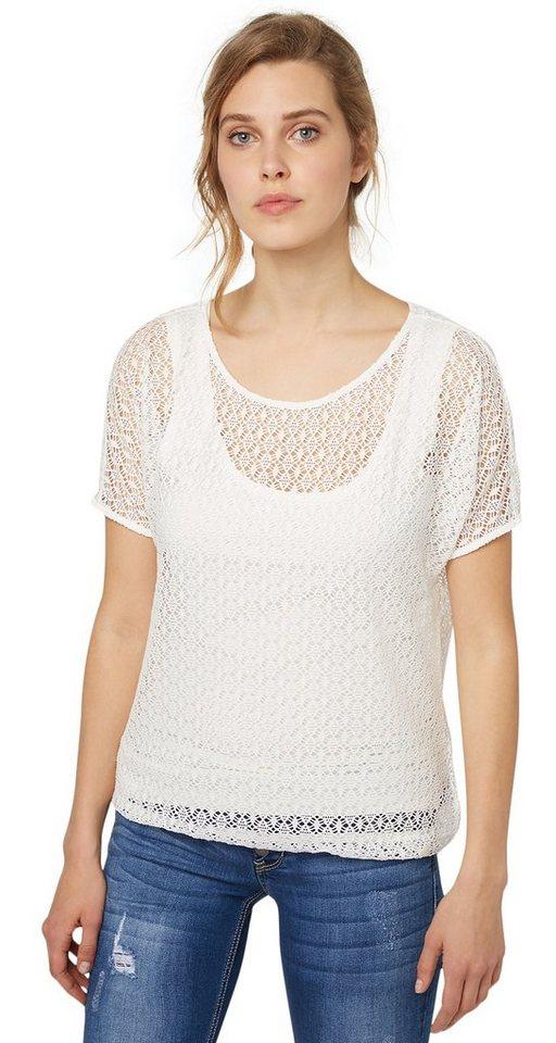 TOM TAILOR T-Shirt »Spitzen-Shirt« in whisper white