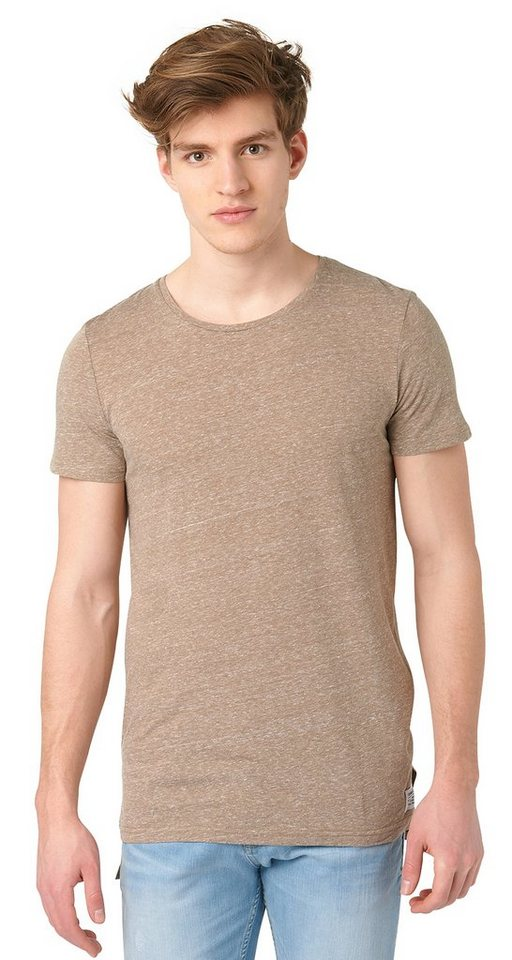 TOM TAILOR DENIM T-Shirt »lässiges Longline-Shirt« in honey camel beige