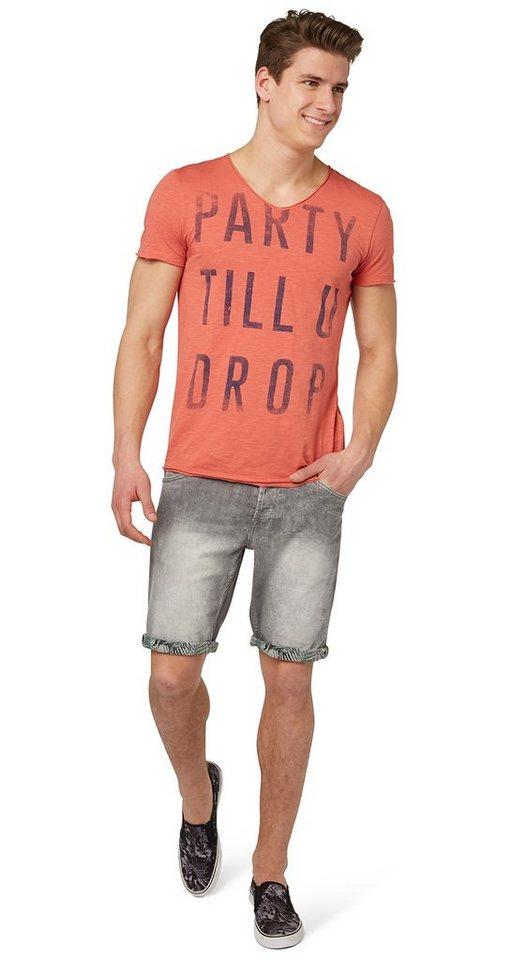 TOM TAILOR DENIM Shorts »Jeans-Bermuda im Used-Look« in bleached light grey