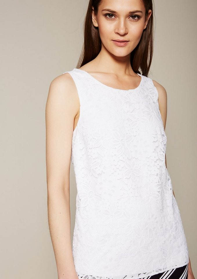 COMMA Elegantes Top aus hauchzarter Spitze in white