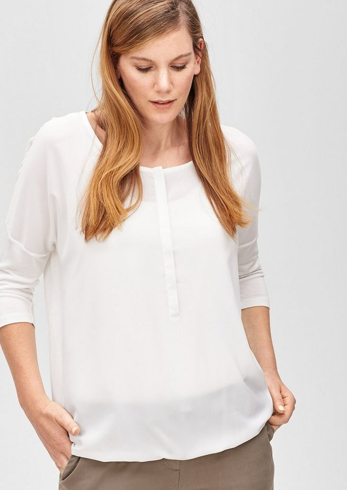 TRIANGLE Blusenshirt im Materialmix in light cream