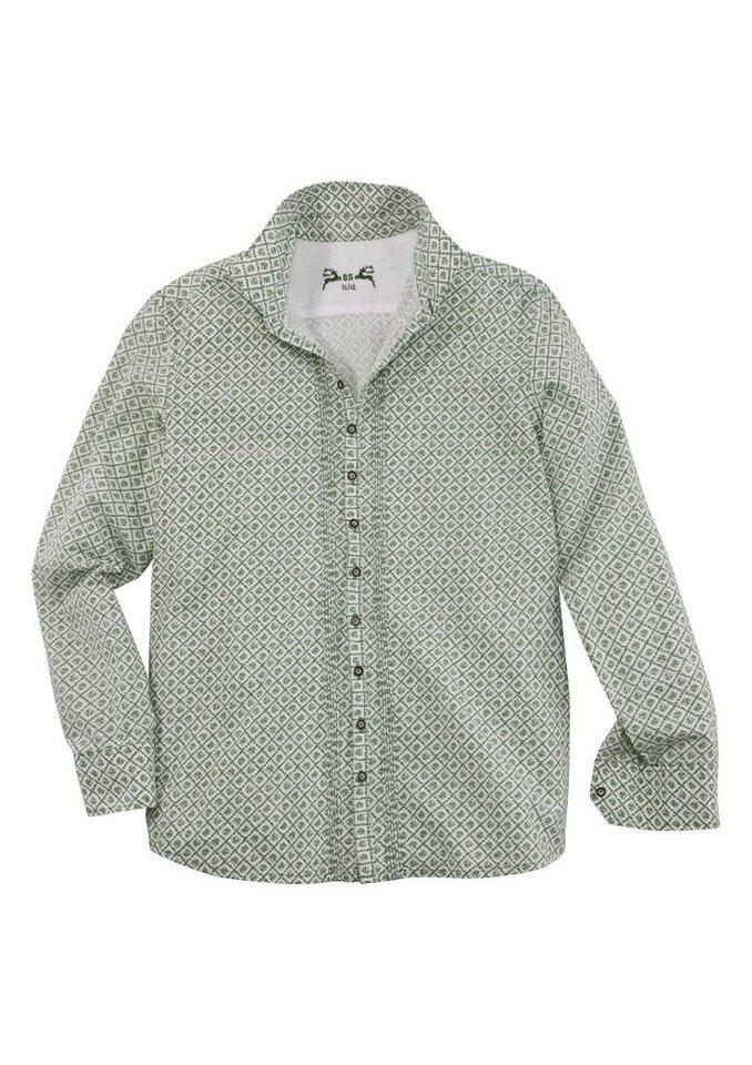 Trachtenhemd mit Retro-Muster, OS-Trachten in grün