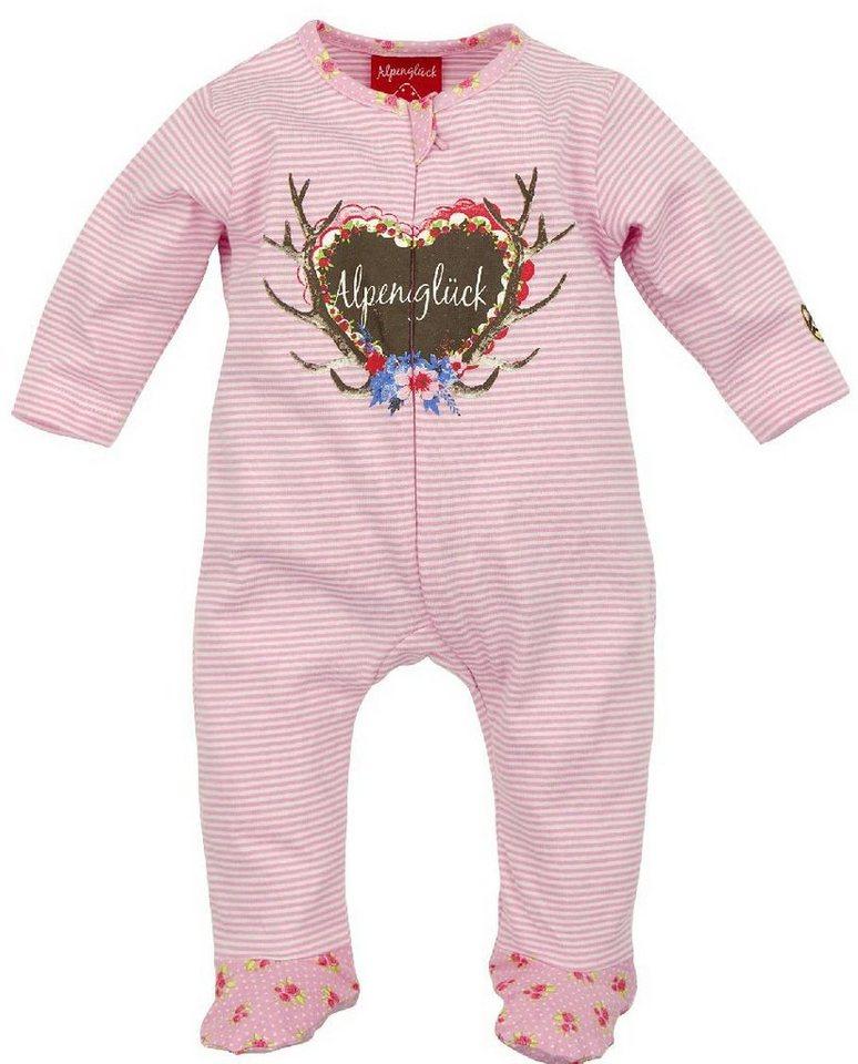 Trachtenschlafanzug Kinder mit Aufdruck, BONDI in rosa/weiss