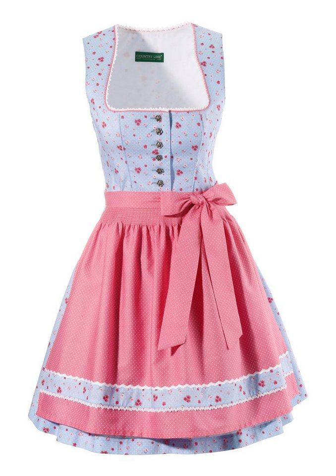 Dirndl kurz im modischen Blumenprint, Country Line in hellblau/rosa