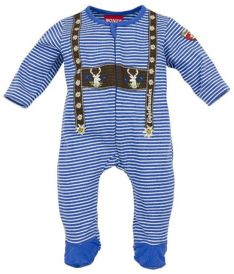 Trachtenschlafanzug Kinder mit Aufdruck, BONDI in blau/weiss