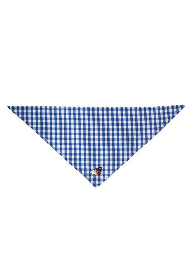 Trachtentuch Kinder mit kleiner Stickerei, BONDI in blau/weiss