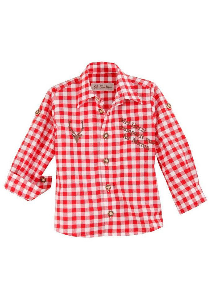 Trachtenhemd Kinder mit Ärmel zum Krempeln, OS-Trachten in rot