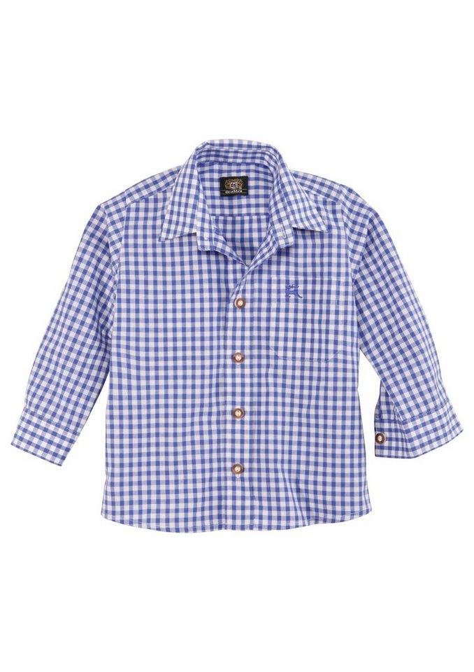 Trachten Kinderhemd kariert, OS-Trachten in blau