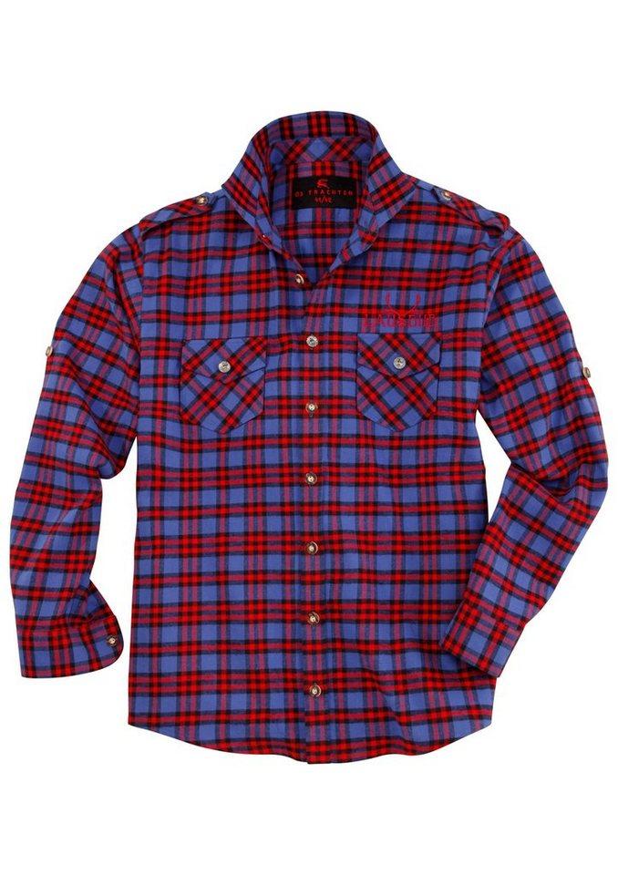 Trachtenhemd kariert mit Krempelärmel, OS-Trachten in blau/rot