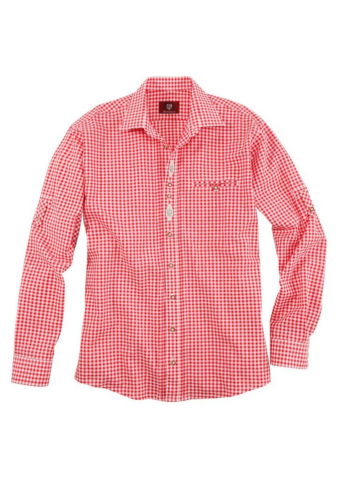 Trachtenhemd mit Ärmel zum Krempeln, OS-Trachten in rot