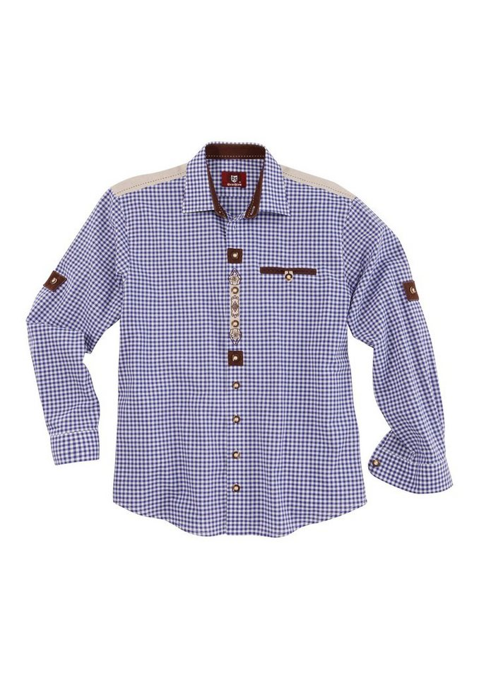 Trachtenhemd mit Ärmel zum Krempeln, OS-Trachten in blau