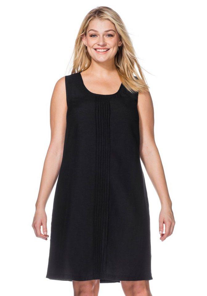 sheego Casual Kleid mit Biesen in schwarz