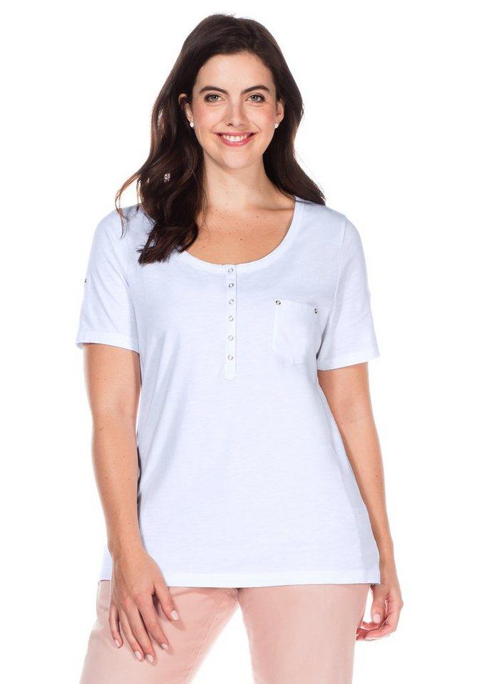 sheego Casual T-Shirt mit Knopfleiste in weiß