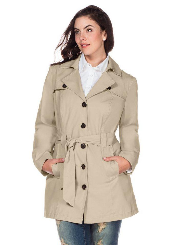 sheego Casual Trenchcoat in Kurzform in beige