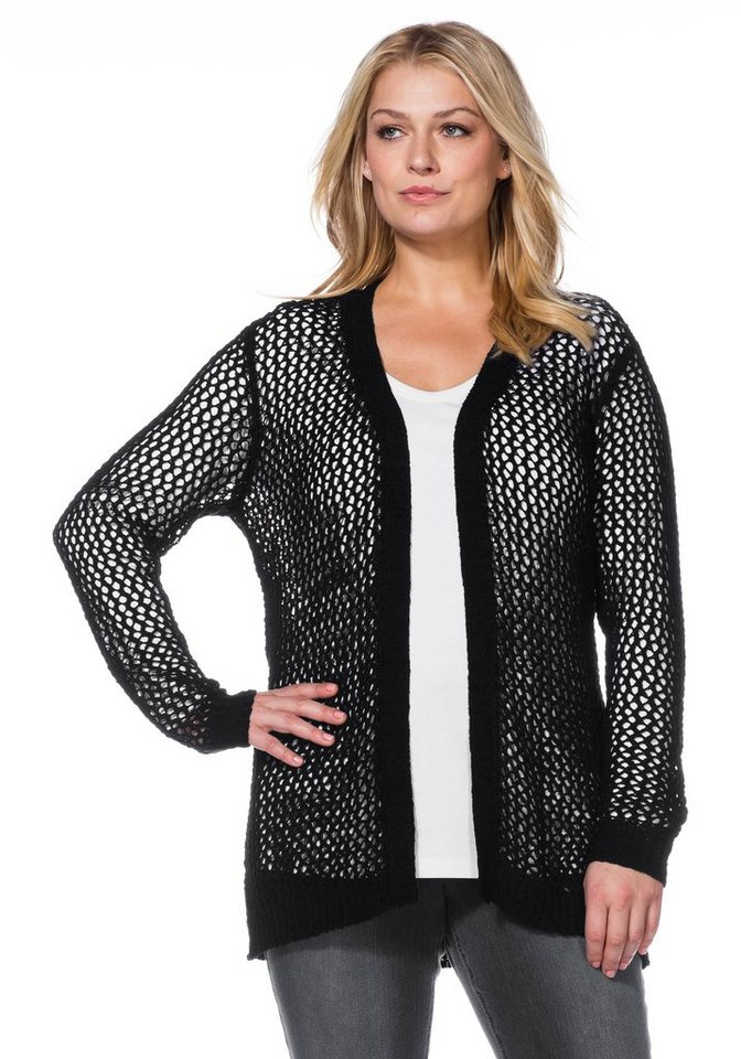 sheego Casual Leichte Strickjacke in schwarz