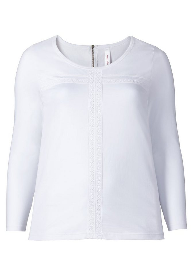 sheego Casual Feminines Langarmshirt in weiß