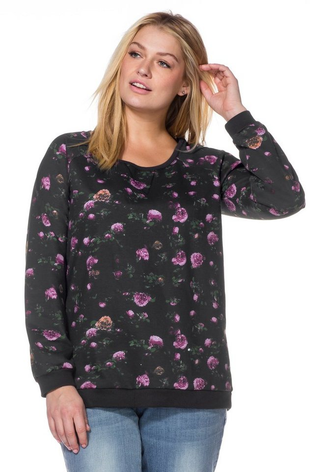 sheego Casual Sweatshirt mit floralem Alloverdruck in anthrazit geblümt