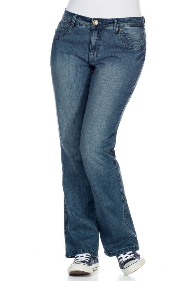 sheego Denim Bootcut-Stretch-Jeans in light blue denim