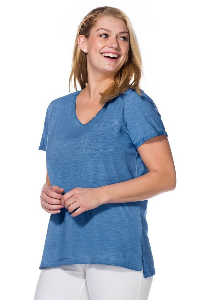 sheego Casual T-Shirt in bleu