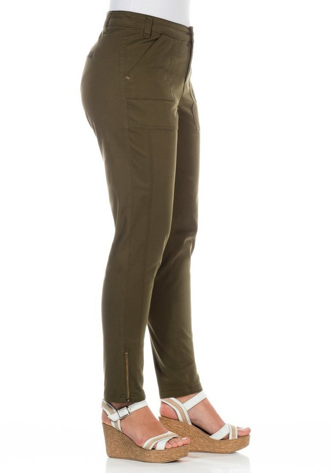 sheego Casual Schmale Stretch-Hose in dunkeloliv
