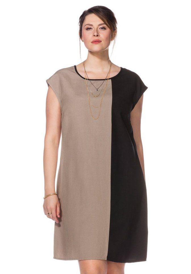 sheego Class Klassisches Kleid in taupe-schwarz
