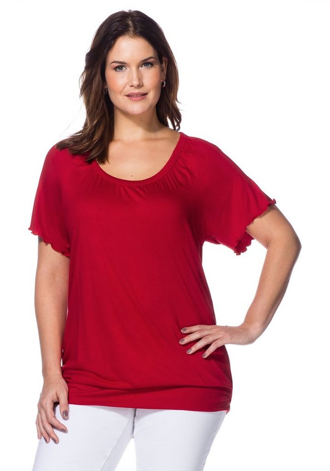 sheego Style T-Shirt mit Raglan-Flügelärmeln in rot
