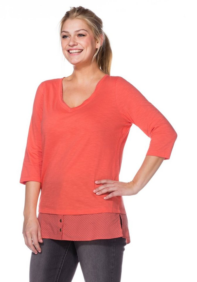 sheego Casual 2-in-1-Shirt in flamingo