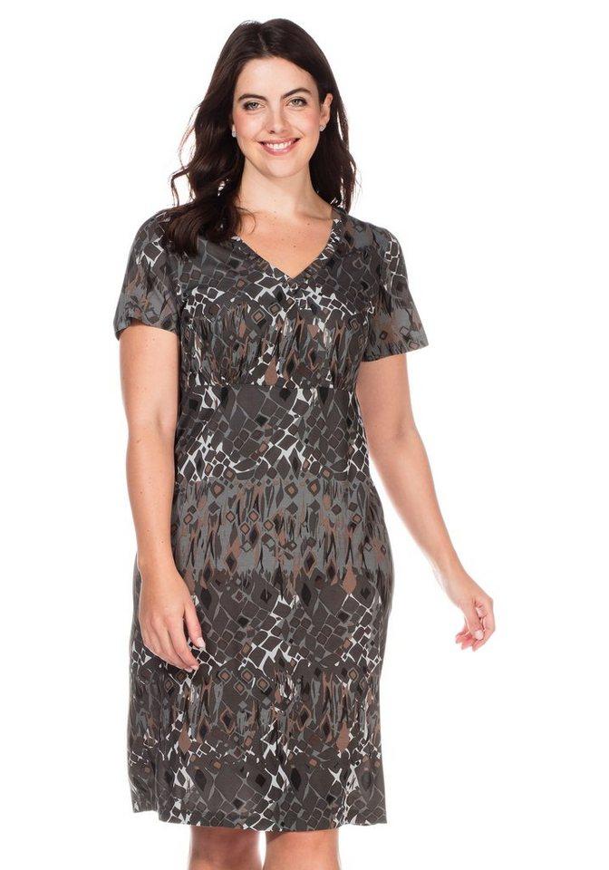sheego Casual Kleid mit V-Ausschnitt in anthrazit-bunt